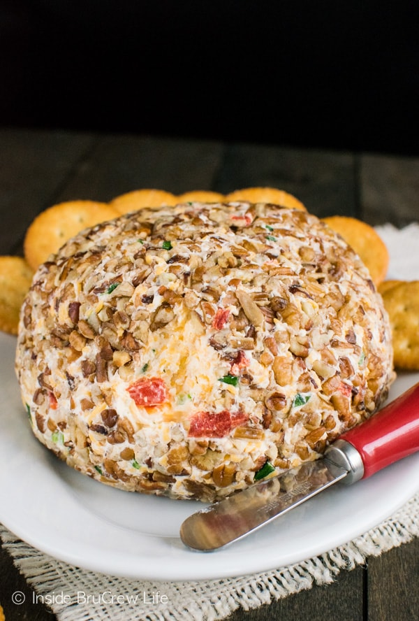 Adding roasted red pepper and garlic to this easy cheese ball makes a delicious appetizer. Perfect with crackers or pretzels.