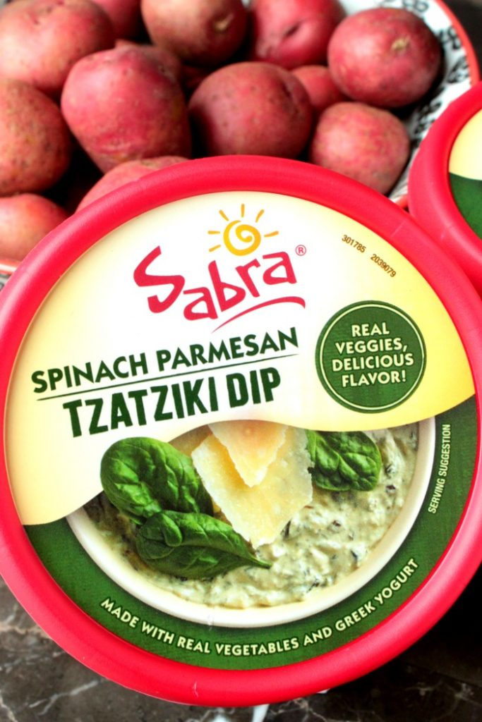 Spinach Parmesan Tzatziki Smashed Potatoes