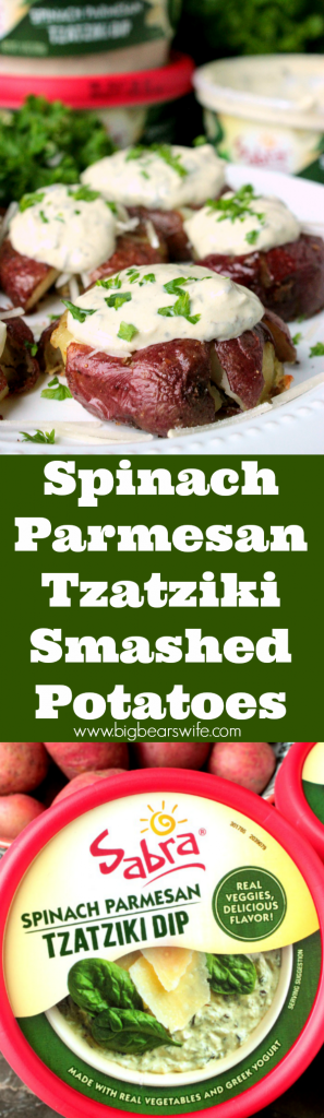 Spinach Parmesan Tzatziki Smashed Potatoes - Spinach Parmesan Tzatziki Smashed Potatoes are small bite size potatoes that are soft in the middle and crisp on the outside! They're topped with Parmesan cheese and Sabra's Spinach Parmesan Tzatziki!