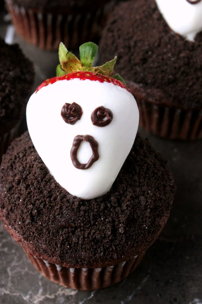 Strawberry Ghost Dark Chocolate Cupcakes