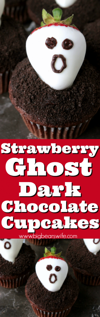 Strawberry Ghost Dark Chocolate Cupcakes- Don't get spooked! These strawberry ghost chocolate cupcakes are nothing be scared about! They're a sweet and easy dessert that's perfect for Halloween!