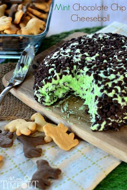 Mint Chocolate Chip Cheese Ball - tastes just like your favorite ice cream but better!   MomOnTimeout.com