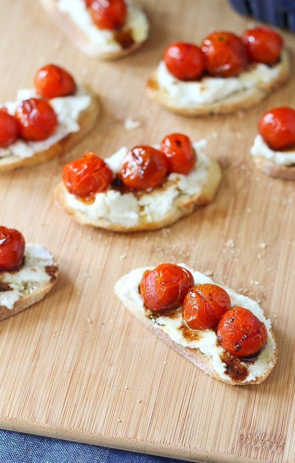 Go ahead and put this Roasted Tomato and Ricotta Cheese Crostini recipe into your regular rotation. It's not only a crowd-pleasing appetizer, but it also makes a killer vegetarian lunch. Get the easy recipe on RachelCooks.com!
