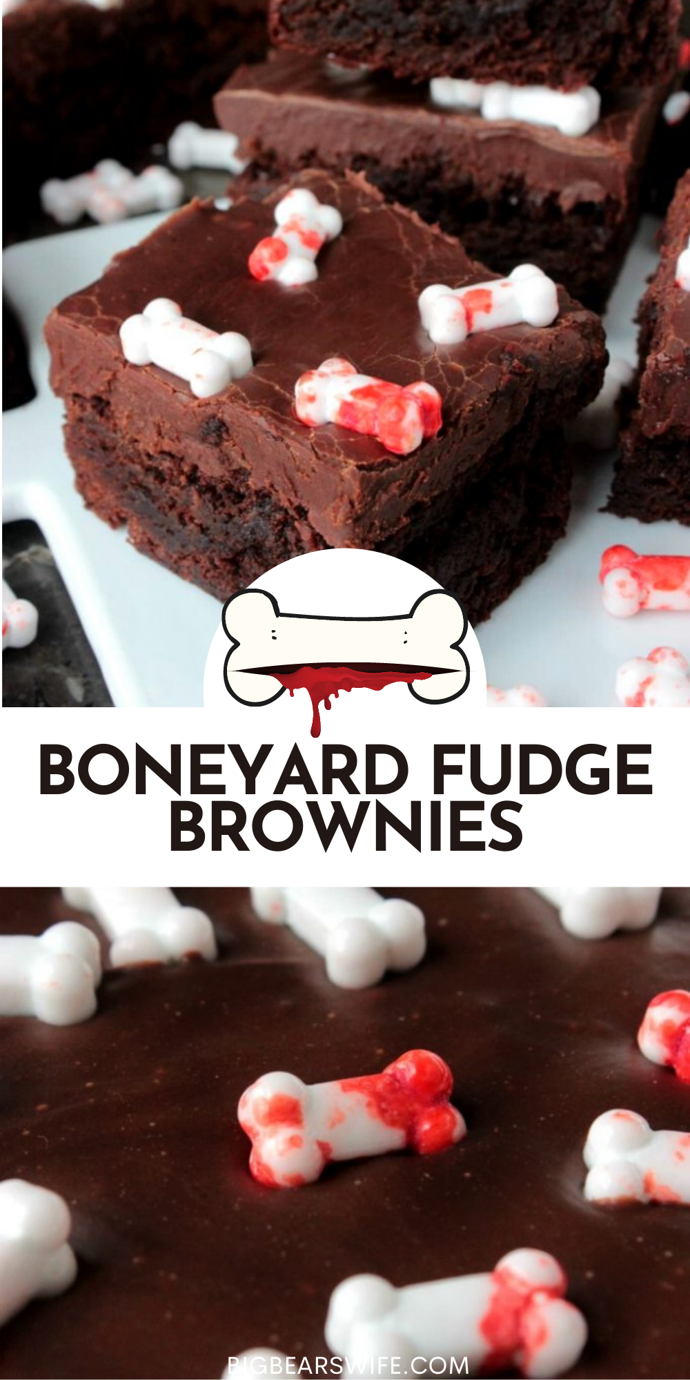 These Boneyard Fudge Brownies are easy to make! You're going to love the top fudge layer and the fudge brownie bottoms! The candy Bones on top are perfect for Halloween! A Super Easy Halloween Treat Recipe! Halloween Brownies are so fun to make and these are great for kids and adults alike! These brownies also have a fudge topping!