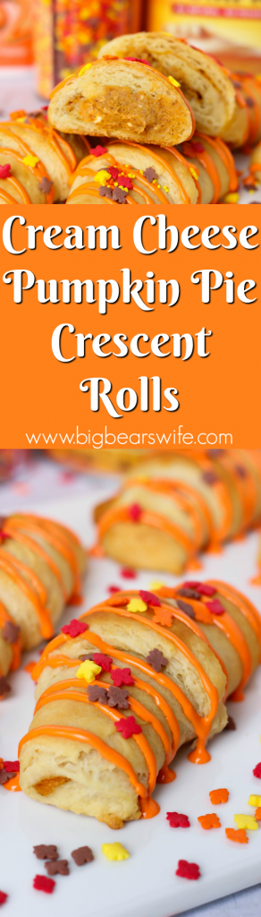 Cream Cheese Pumpkin Pie Crescent Rolls - A sweet little dessert that's stuffed with a Cream Cheese Pumpkin Pie filling! These Cream Cheese Pumpkin Pie Crescent Rolls are ready in under 30 minutes!