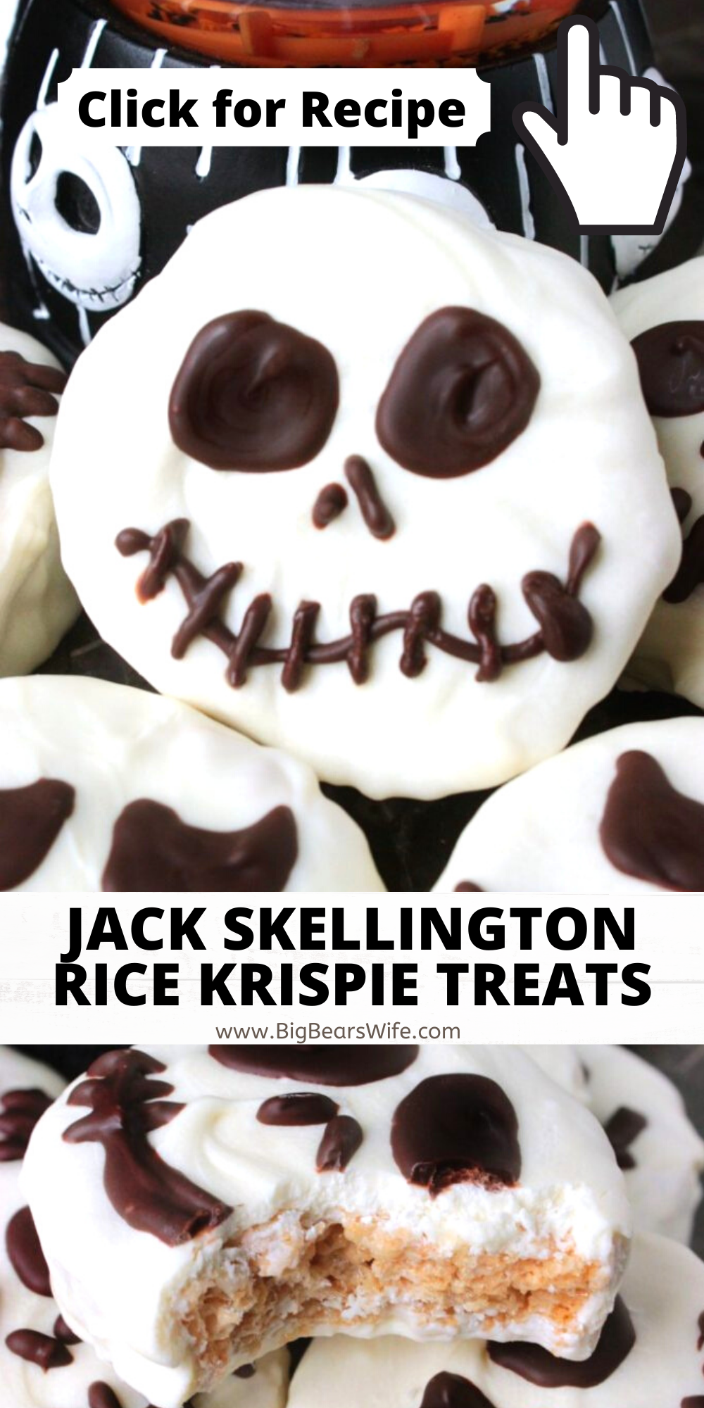 "Add a little bit of ""The Nightmare Before Christmas"" to your Halloween party with these easy Jack Skellington Rice Krispie Treats! via @bigbearswife"