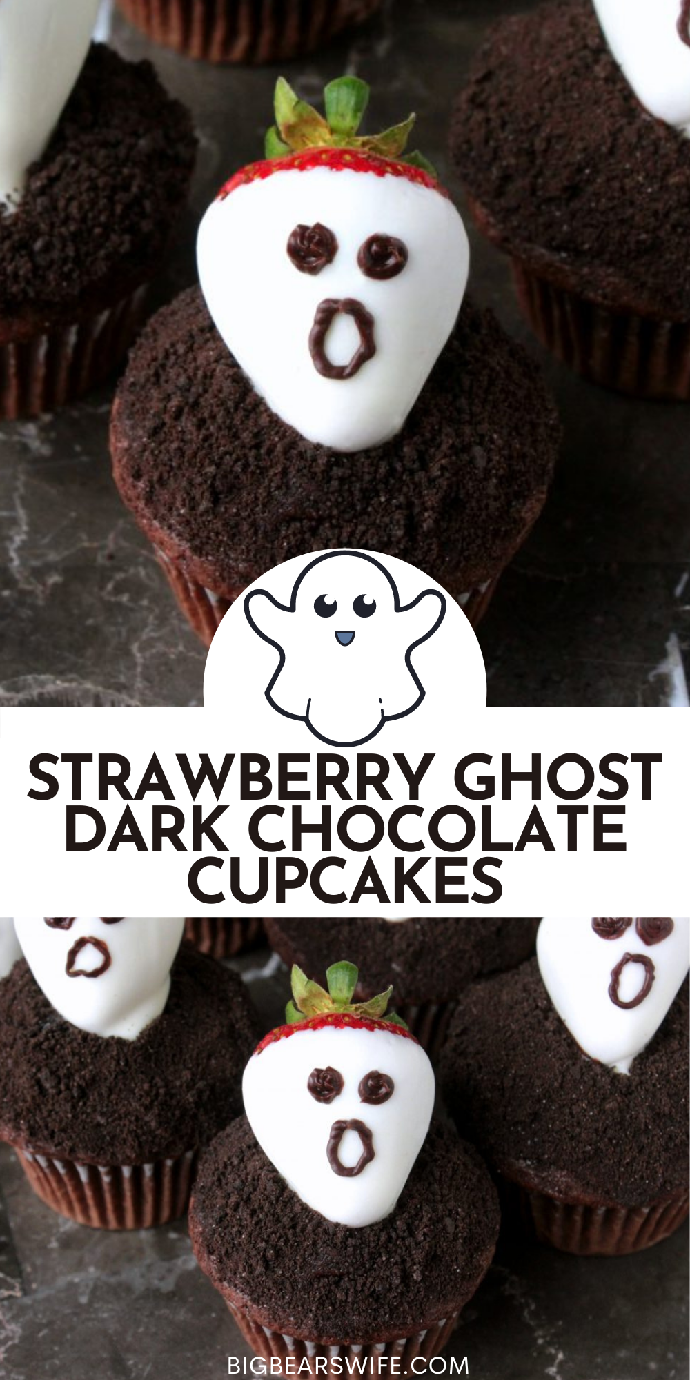 Don't get spooked! These Strawberry Ghost Dark Chocolate Cupcakes are nothing bescaredabout! They're a sweet and easy dessert that's perfect for Halloween!