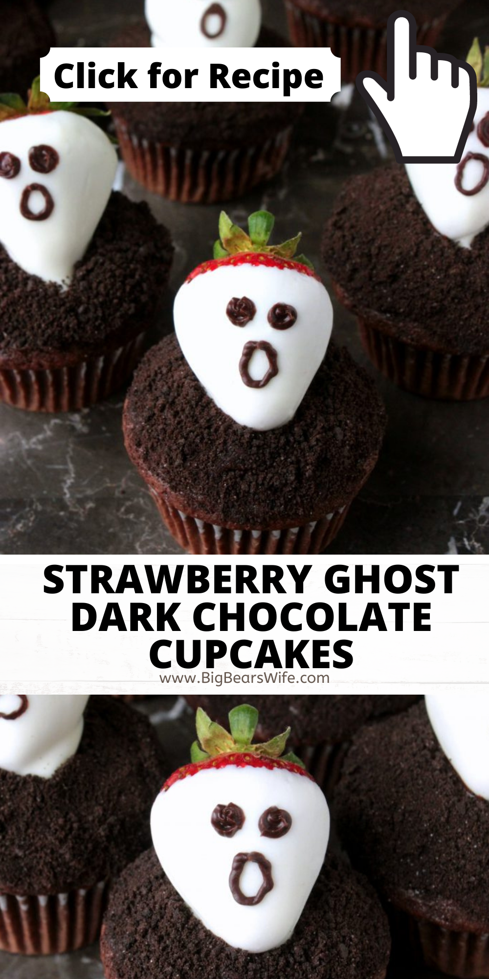 Don't get spooked! These Strawberry Ghost Dark Chocolate Cupcakes are nothing bescaredabout! They're a sweet and easy dessert that's perfect for Halloween! via @bigbearswife