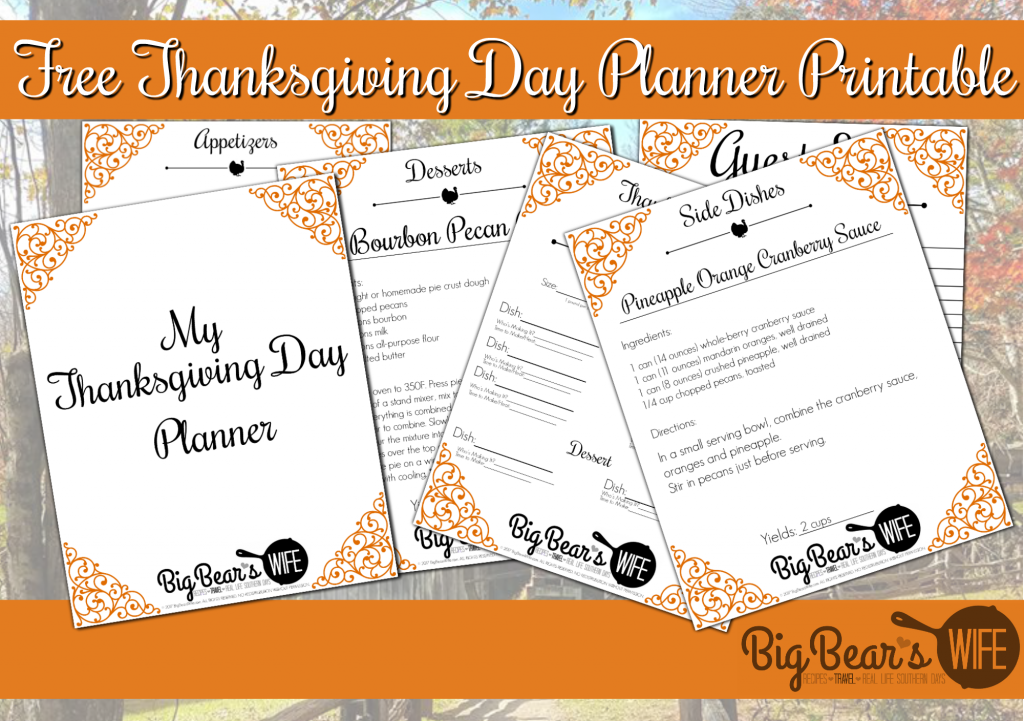 image about Thanksgiving Planner Printable identified as Absolutely free Thanksgiving Working day Planner Printable - Large Bears Spouse