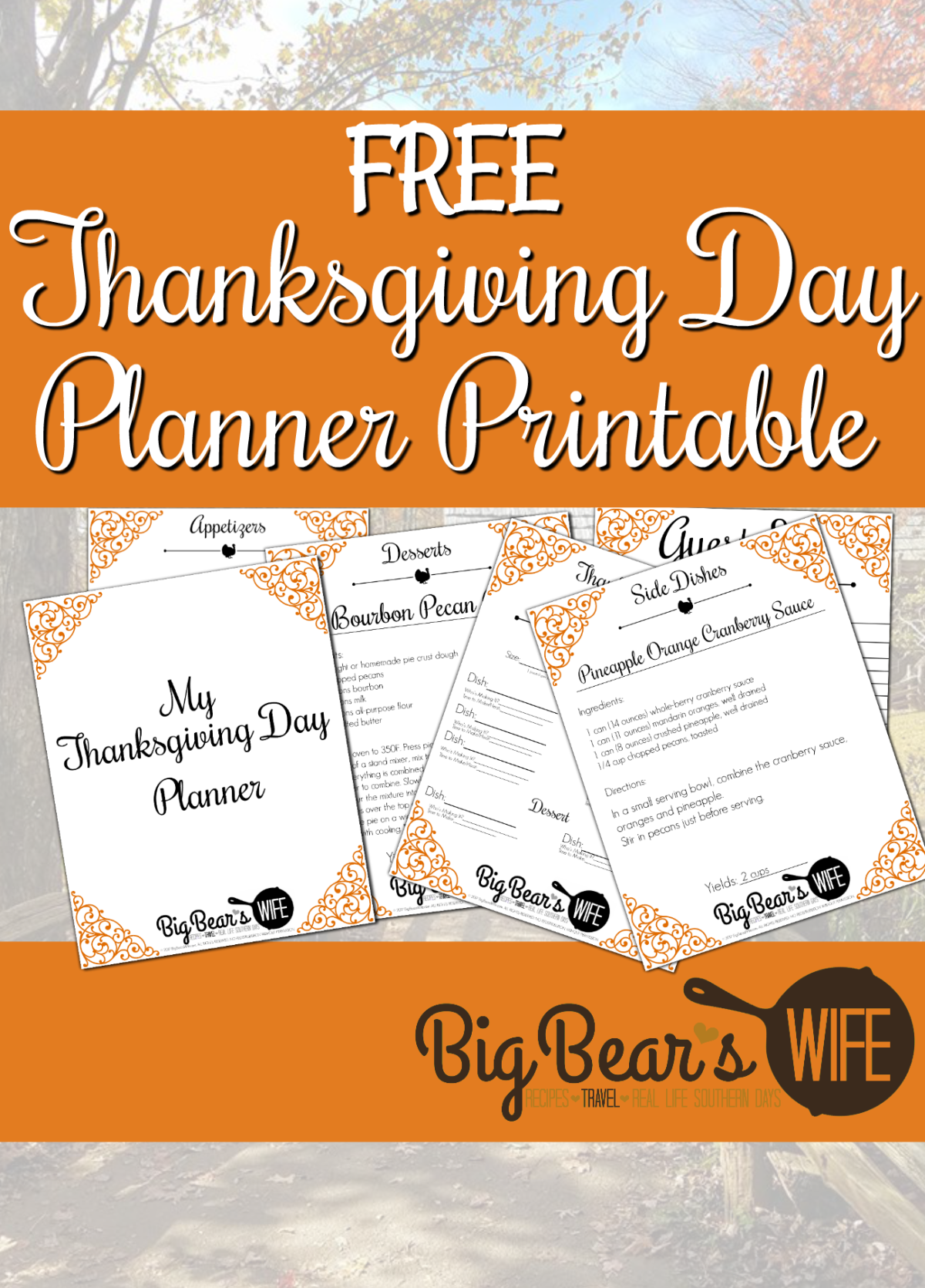 picture relating to Thanksgiving Planner Printable called Absolutely free Thanksgiving Working day Planner Printable - Huge Bears Spouse