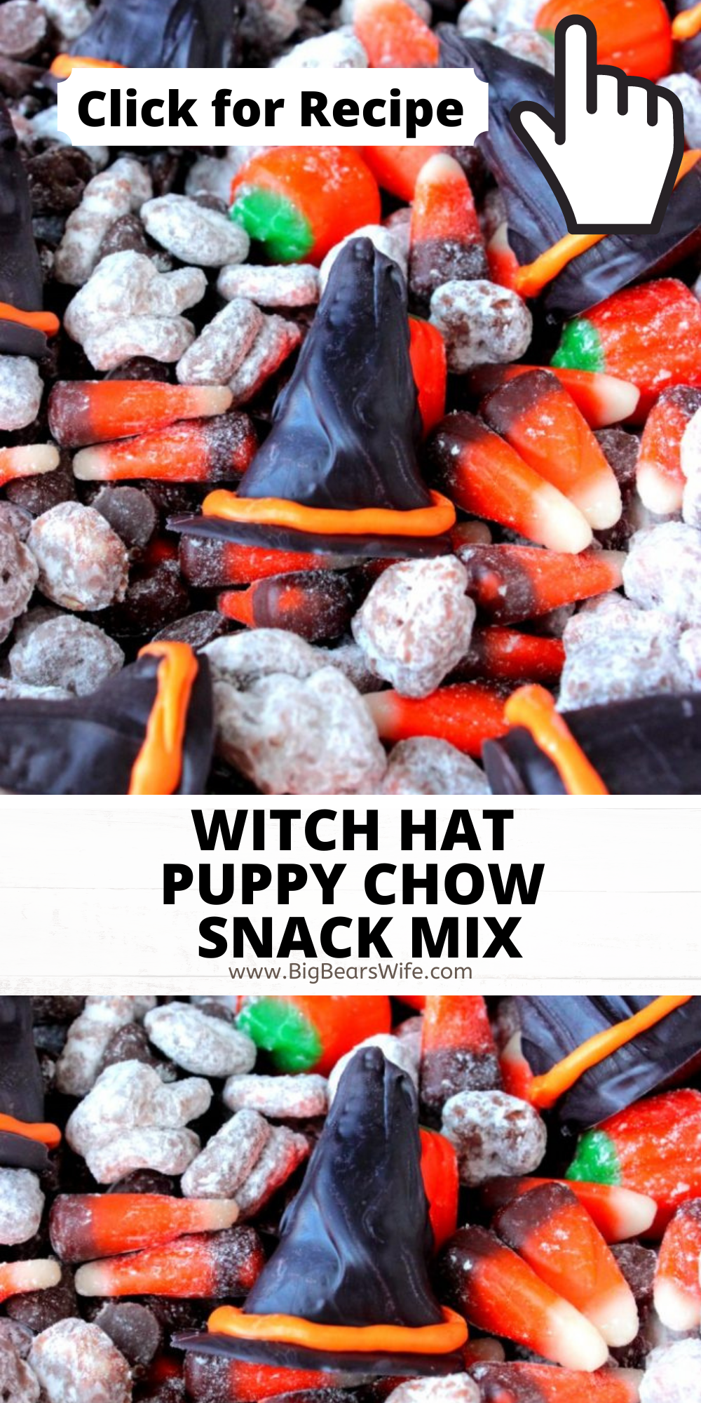 Share this spooky snack with the Halloween witches in your life! This Witch Hat Puppy Chow Snack is packed with Halloween cereal, candy and chocolate witch hats! This is a super cute Halloween treat recipe that is all about witches. Everyone will love this super cute Halloween Chex Mix Recipe! Halloween Muddy Buddy Recipe and more on BigBearsWife.com via @bigbearswife