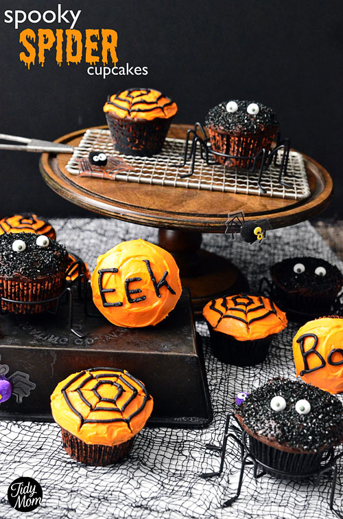 Easy to make rich dark chocolatey Spider and Spiderweb Cupcakes, perfect for a Halloween party and fun to make! details at TidyMom.net