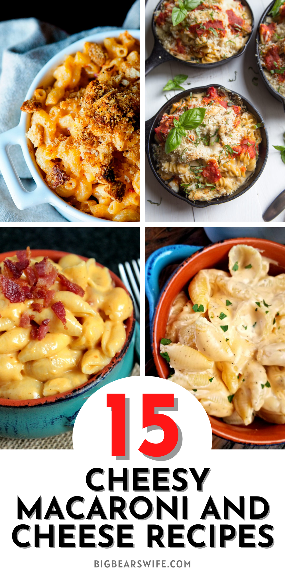 One of my favorite side dishes at holiday dinners has always been mac and cheese! These recipes are sure to be a winner on your dinner table! Here are 15 Cheesy Macaroni and Cheese Recipes for you to pick from! via @bigbearswife