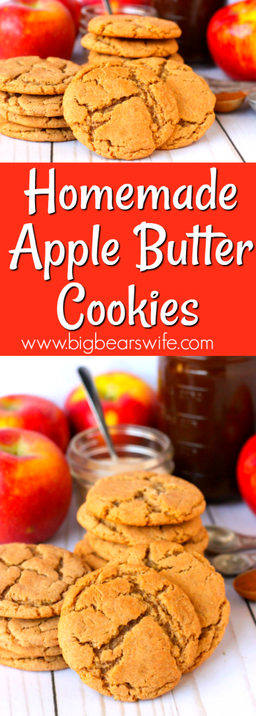An Apple Butter Cookie is a mash up of snickerdoodles and sugar cookies! They're soft and chewy with a cinnamon sugar crust! Make them with store bought apple butter or homemade apple butter!