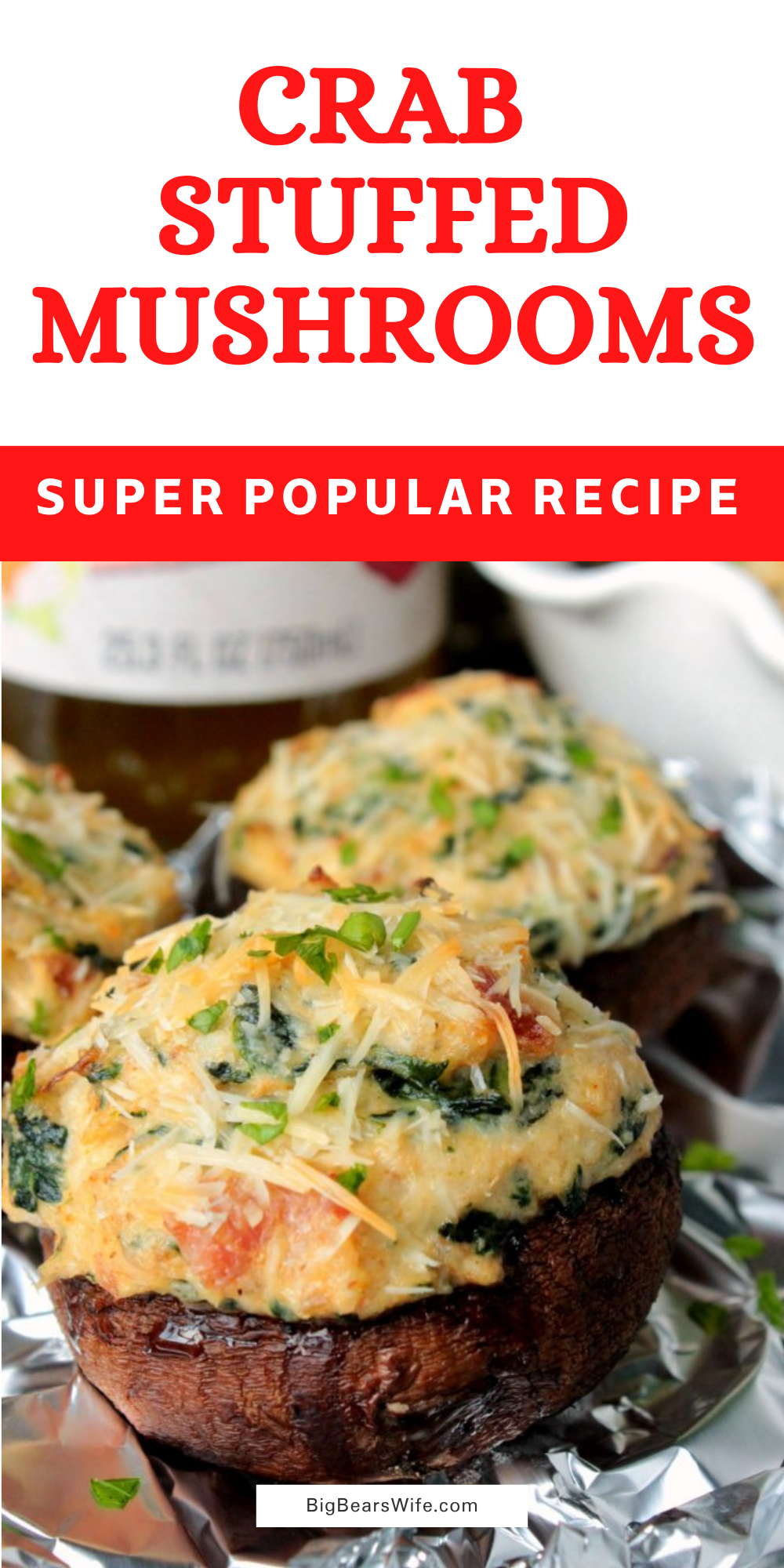 Crab Stuffed Mushrooms - TheseCrab Stuffed Mushrooms are filled with an easy cream cheese, crab and spinach filling! PS. there are NO breadcrumbs in this recipe! via @bigbearswife