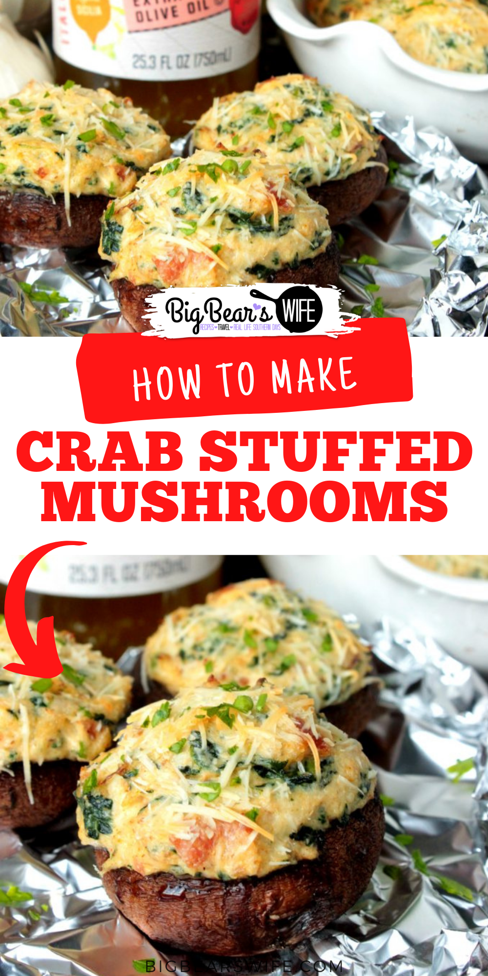 These Crab Stuffed Mushrooms are filled with an easy cream cheese, crab and spinach filling! PS. there are NO breadcrumbs in this recipe!   via @bigbearswife