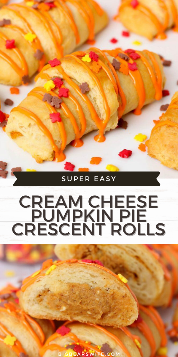 A sweet little dessert that's stuffed with a Cream Cheese Pumpkin Pie filling! These Cream Cheese Pumpkin Pie Crescent Rolls are ready in under 30 minutes!