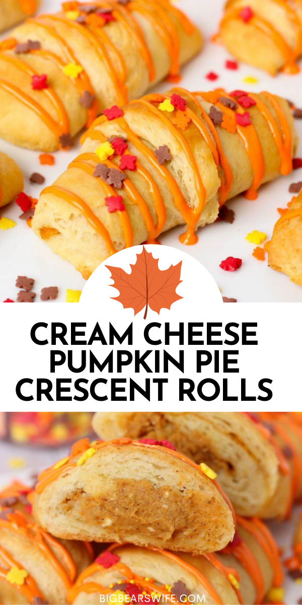 A sweet little dessert that's stuffed with a Cream Cheese Pumpkin Pie filling! These Cream Cheese Pumpkin Pie Crescent Rolls are ready in under 30 minutes! via @bigbearswife
