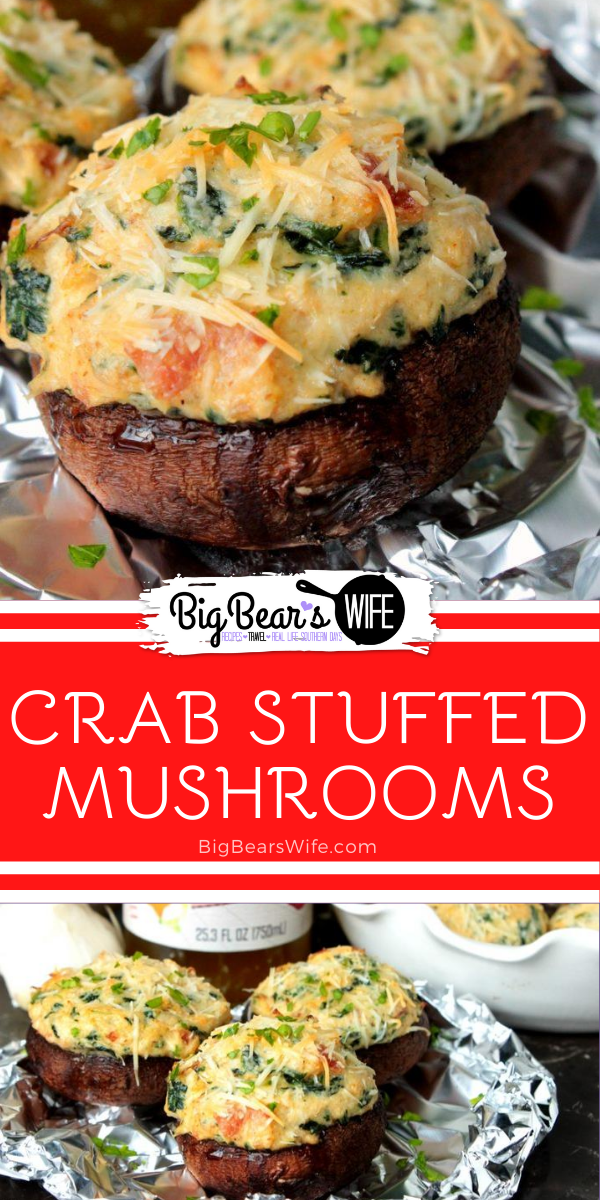 Crab Stuffed Mushrooms - These Crab Stuffed Mushrooms are filled with an easy cream cheese, crab and spinach filling! PS. there are NO breadcrumbs in this recipe! via @bigbearswife
