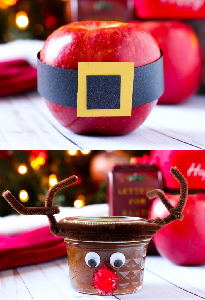DIY Santa Apple & Rudolph Jar Caramel Sauce Stocking Stuffers