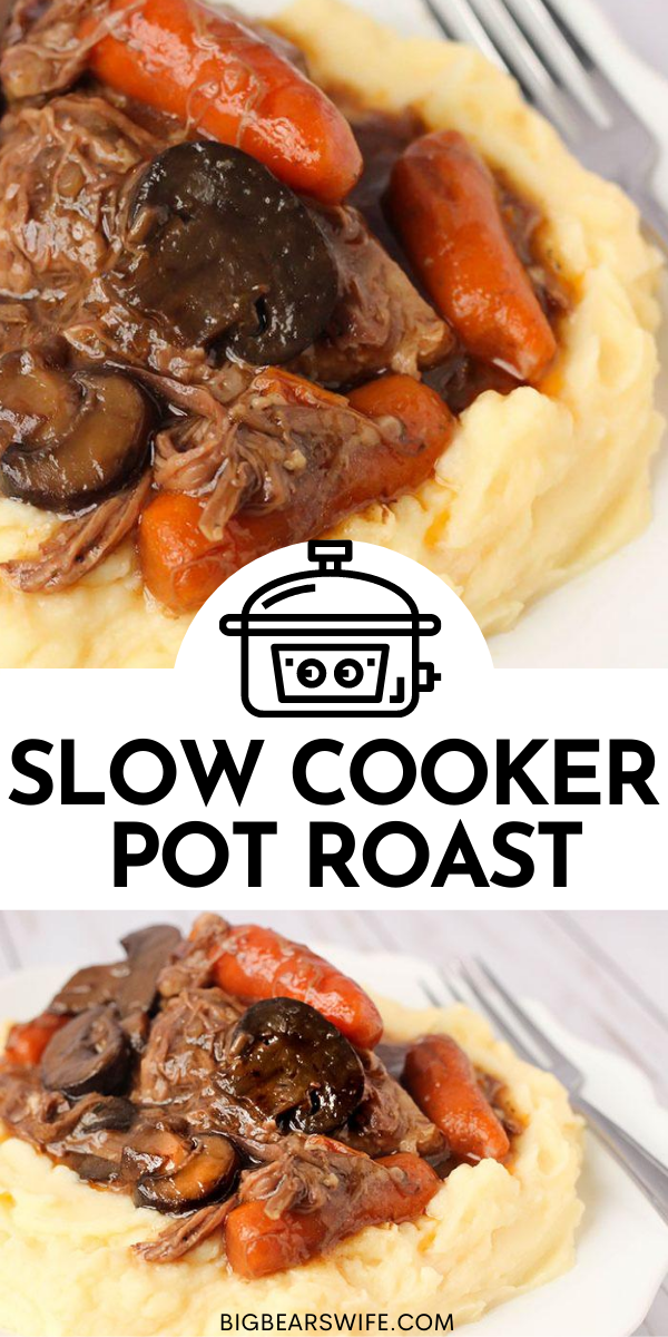 One of our favorite slow cooker recipes is this Slow Cooker Pot Roast! It's made up of just a few simple ingredients and we love to serve it over cheesy mashed potatoes!