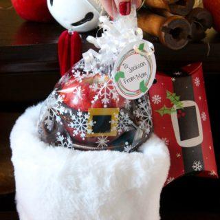 DIY Santa Apple & Rudolph Jar Caramel Sauce Stocking Stuffers