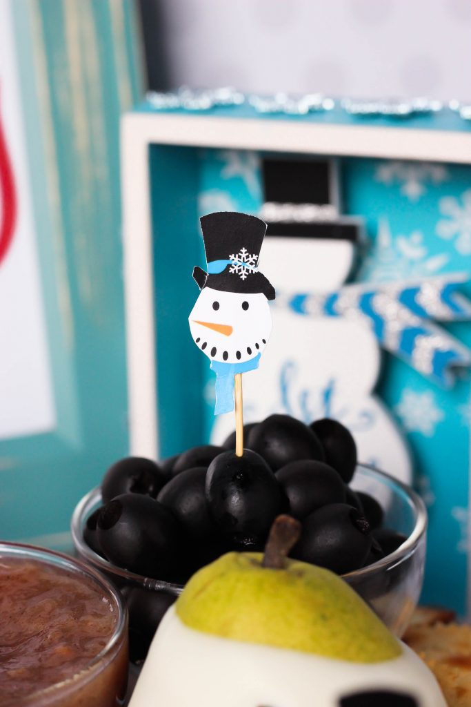 Snowman Holiday Cheeseboard with Vanilla Pear Butter