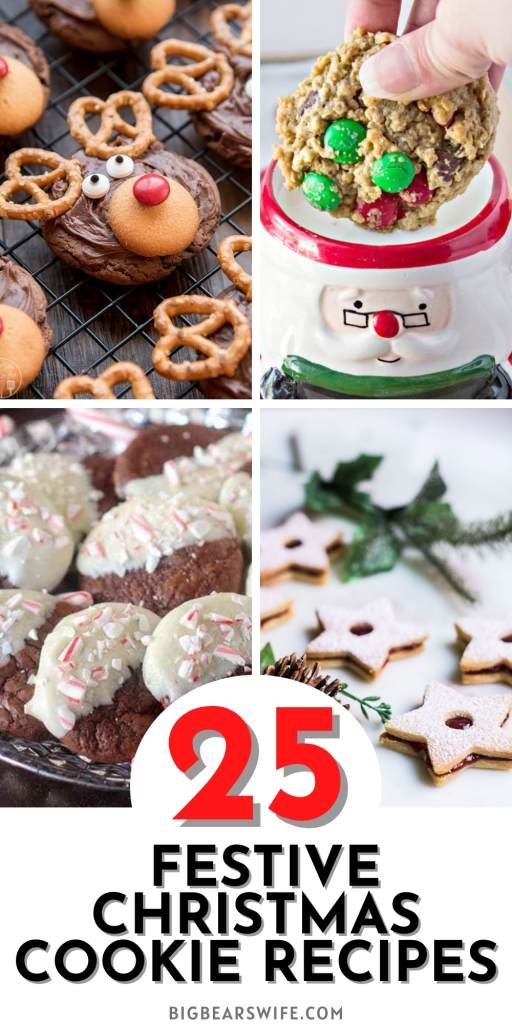 25 Festive Christmas Cookie Recipes - Get into the festive Holiday Spirit with 25 Festive Christmas Cookie Recipes perfect for dessert or gift giving!