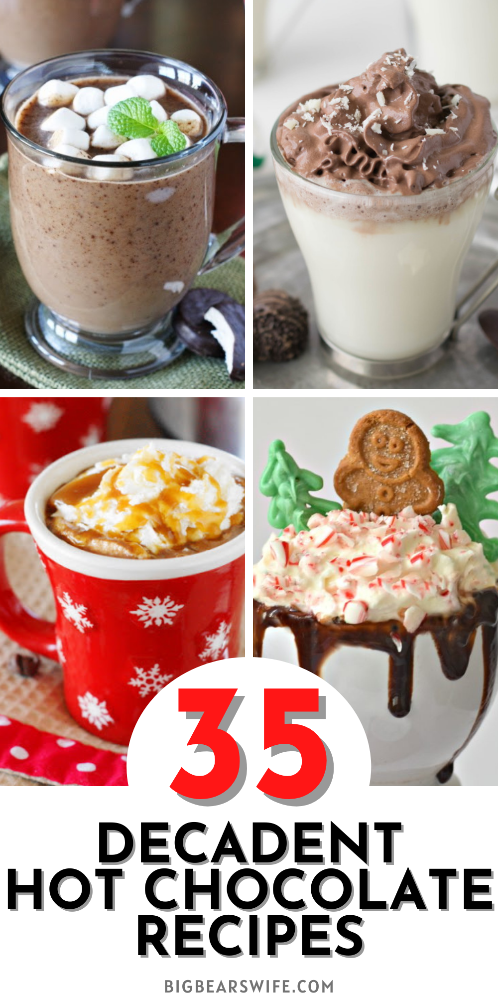 Need a little something to warm you up during these cold winter nights? Here you'll find 35 Decadent Hot Chocolate Recipes Plus 3 Hot Chocolate gifts from the kitchen! There is also a little information on how to set up your own holiday Hot Chocolate Bar!