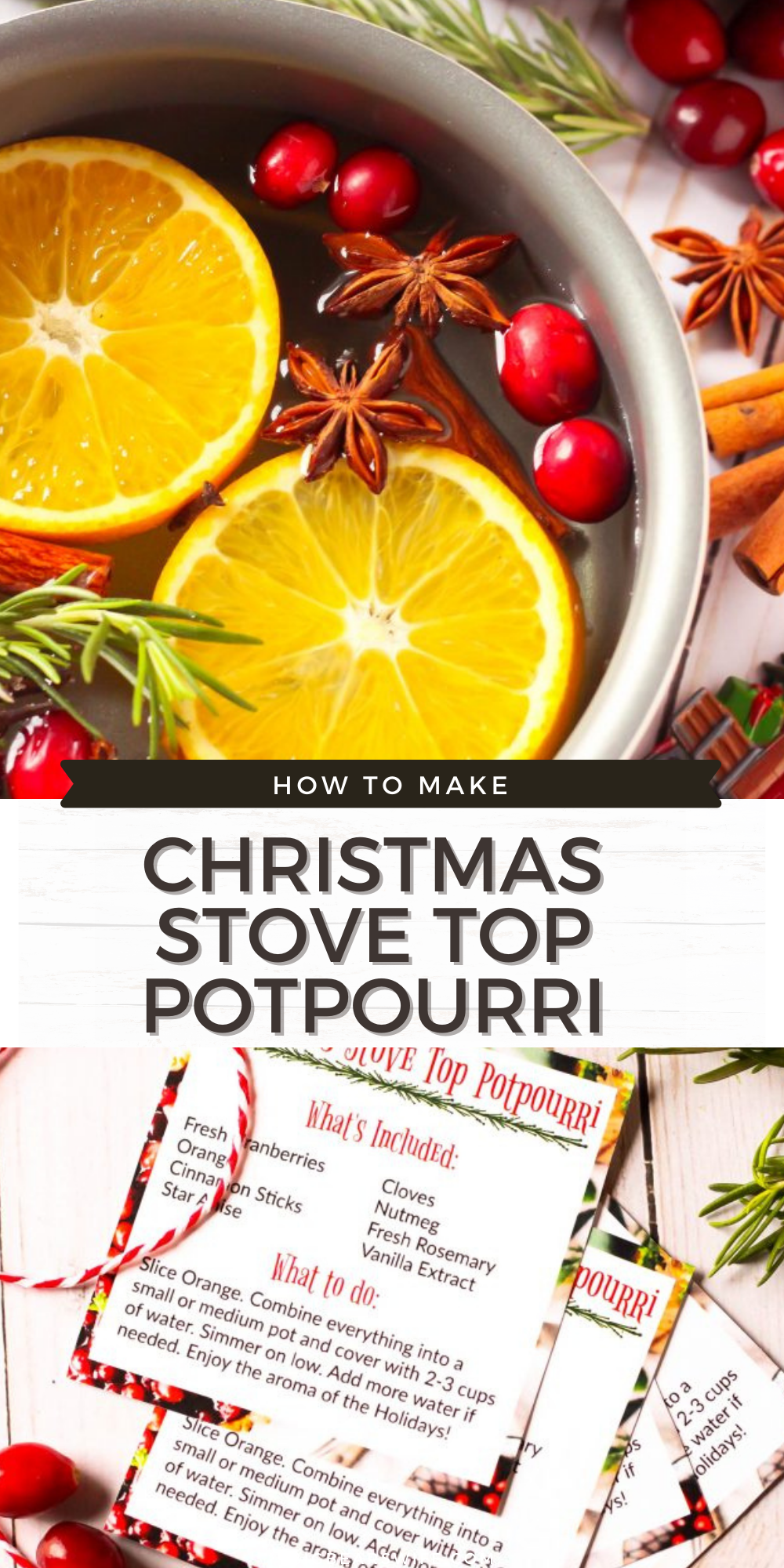 It's beginning to look a lot like Christmas! ThisChristmas Stove Top Potpourri will fill your home with the aroma of the Holidays and it makes a wonderful Christmas gift for friends, family and neighbors! I've even got a free gift tag printable for you! via @bigbearswife