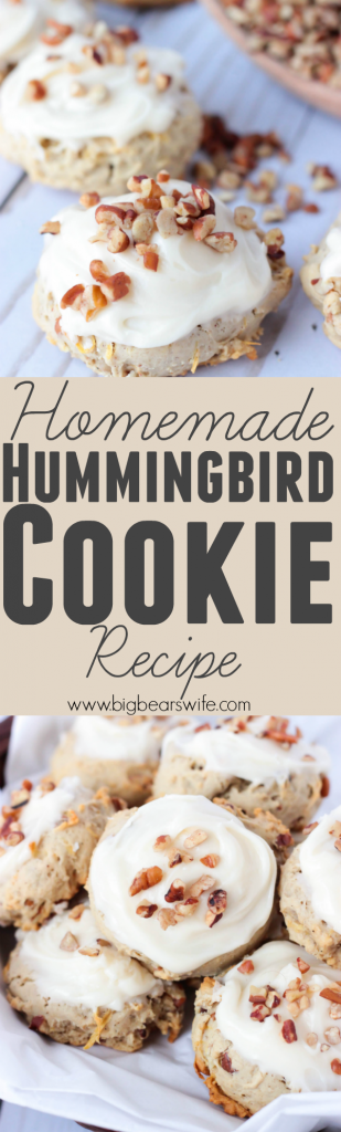 Hummingbird Cookies - I've taken my favorite flavor of cake, Hummingbird Cake, and turned it into a delicious, soft cookie! These Hummingbird Cookies have all the flavors of a Hummingbird Cake and they're topped with a homemade cream cheese frosting!