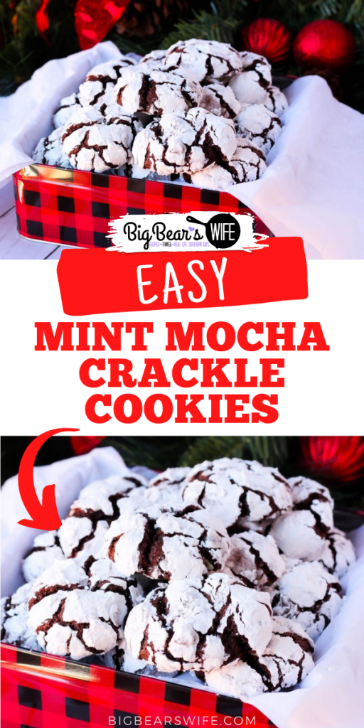 Chocolate Crackle cookies with a minty twist for the holidays! TheseMint Mocha Crackle Cookies would be perfect for Santa!