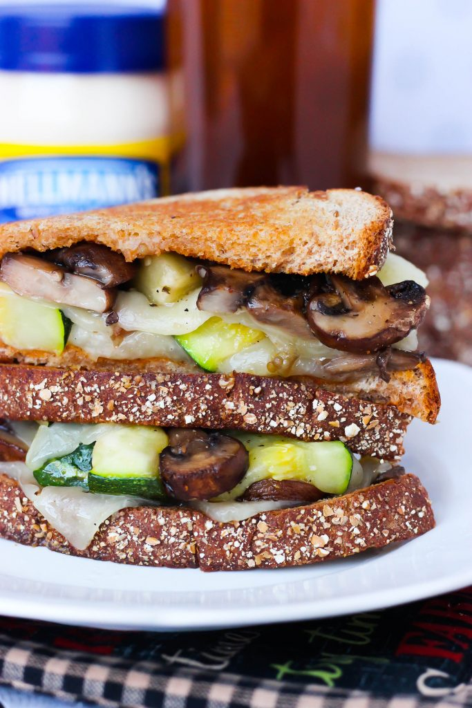 Perfectly Crispy Grilled Cheese & Veggies Hellmann's Strangewich - A perfectly made grilled cheese sandwich packed with tasty roasted vegetables that are smothered with hot melted cheese!