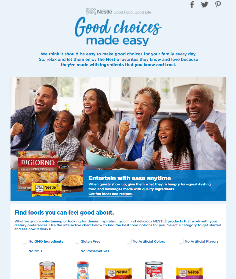 "NESTLÉ® ""Good Choices Made Easy"" Tool at Walmart"