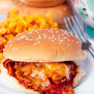 Cheesy Shredded BBQ Chicken Sandwiches
