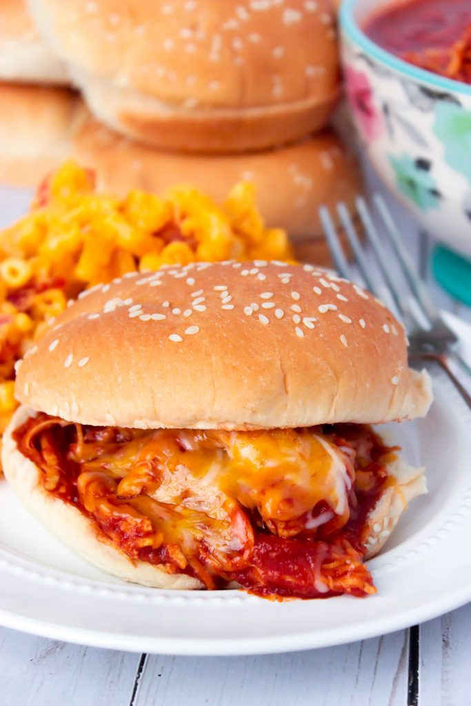 Cheesy Shredded BBQ Chicken Sandwiches