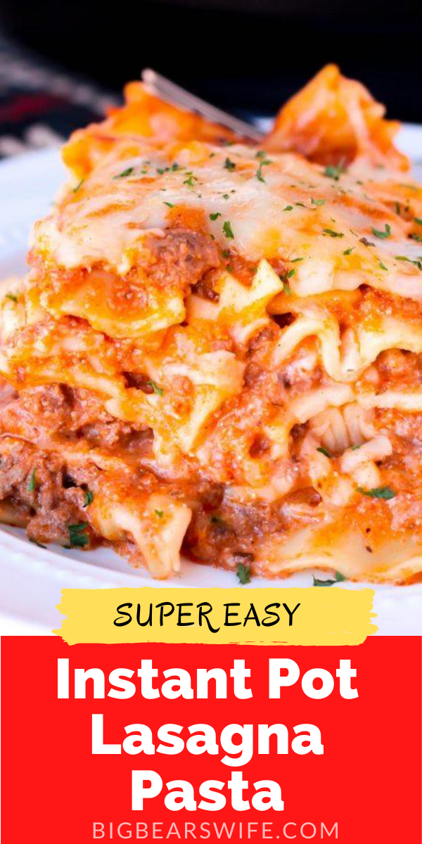 "This Easy Instant Pot Lasagna Pasta is a ""toss together, stir and cook"" type of recipe. Everything is cooked in the Instant Pot, but I love to broil the cheese in the oven to finish it off! via @bigbearswife"