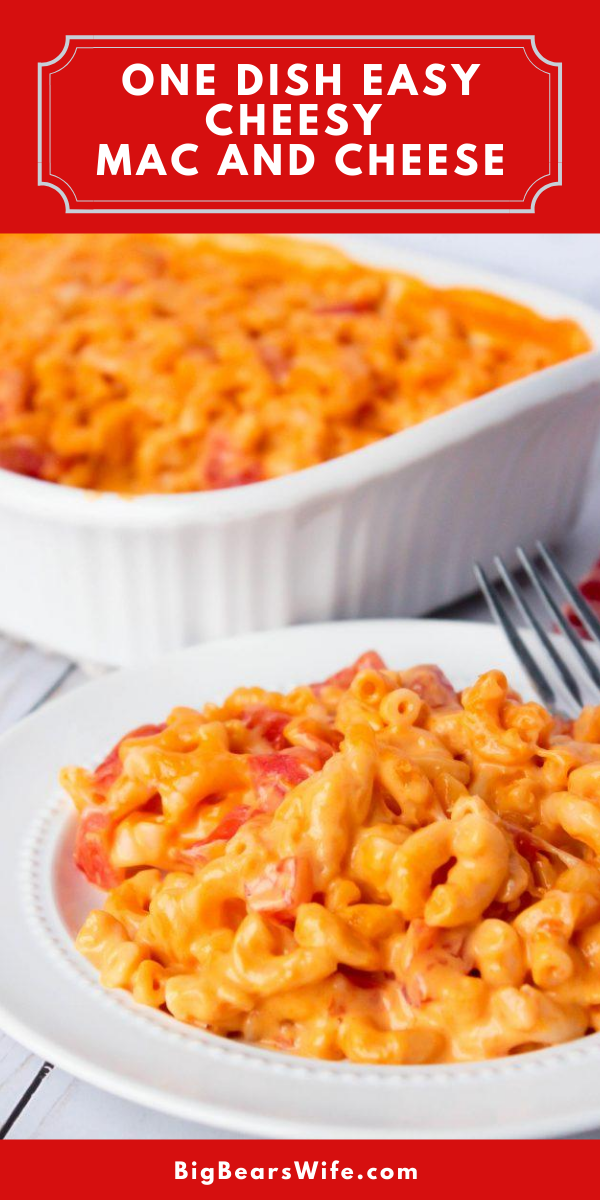 5 ingredients and one casserole dish is all you need to make this One Dish Easy Cheesy Mac and Cheese! Add some cooked shredded chicken to in at the end for an entire meal or serve it as is for the perfect cheesy side dish!