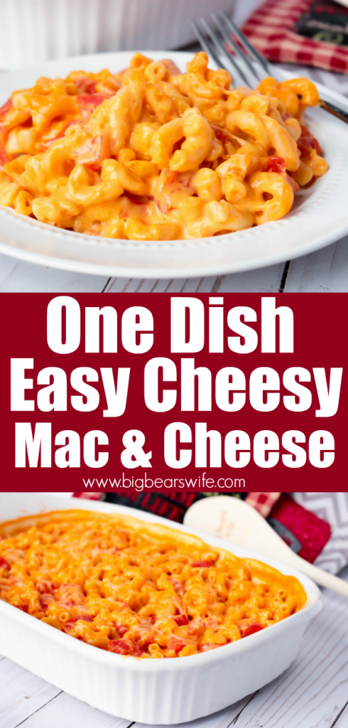 One Dish Easy Cheesy Mac and Cheese - 5 ingredients and one casserole dish is all you need to make this One Dish Easy Cheesy Mac and Cheese! Add some cooked shredded chicken to in at the end for an entire meal or serve it as is for the perfect cheesy side dish!
