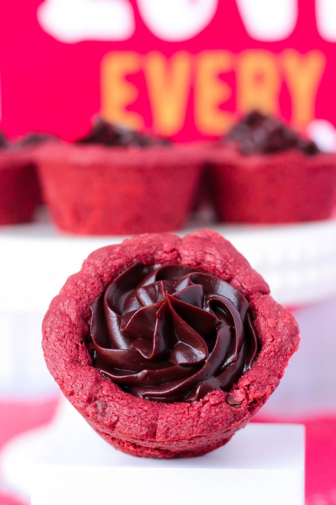 Red Velvet Cookie Cups with Fudge Centers