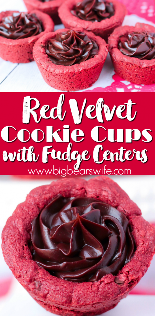 Red Velvet Cookie Cups with Fudge Centers - These sweet treats are Red Velvet Cookies with mini chocolate chips baked into a cup and pipped full of luscious, homemade chocolate fudge filling! Red Velvet Cookie Cups with Fudge Centers are the perfect sweet treat for your sweetheart!
