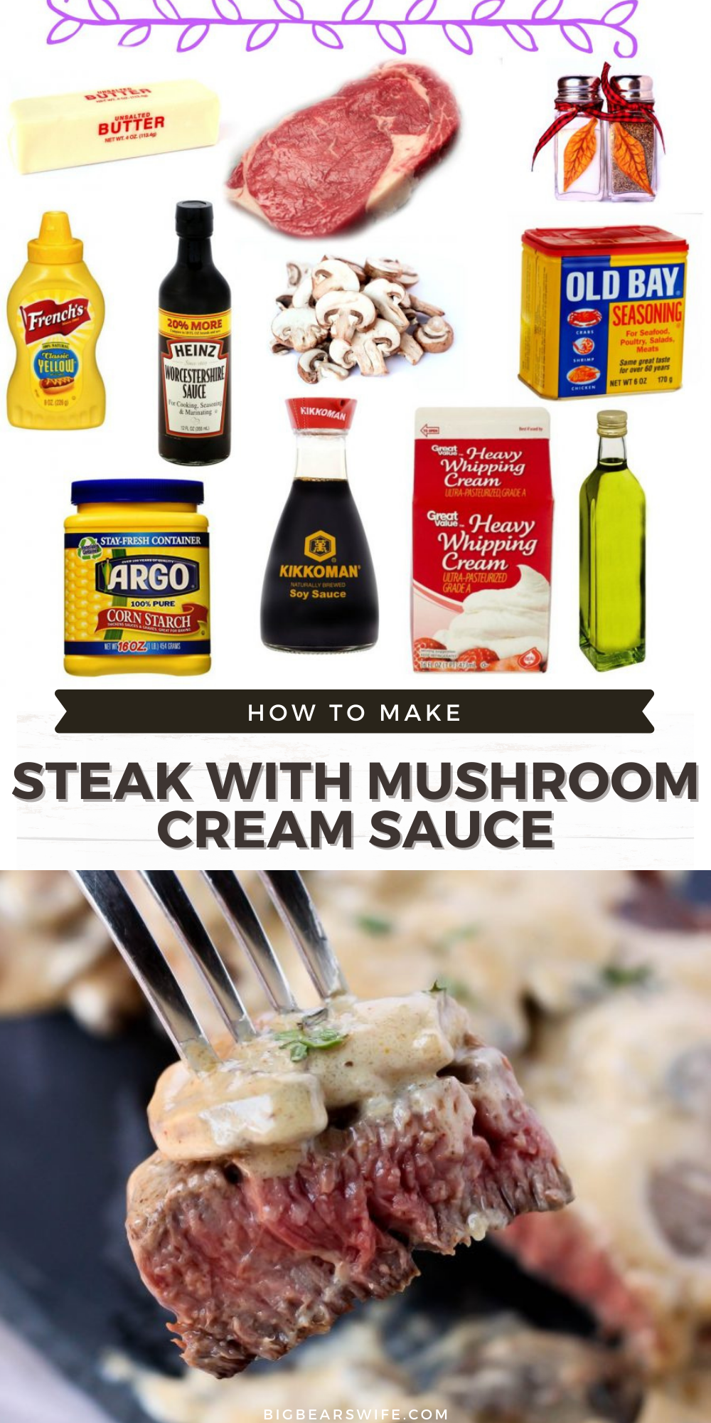"""Eating low carb doesn't mean that you have to sacrifice flavor! This Steak with Mushroom Cream Sauce is so amazing that """"low carb"""" won't even matter! You can also make this sauce for chicken or pork! It's so good! via @bigbearswife"""