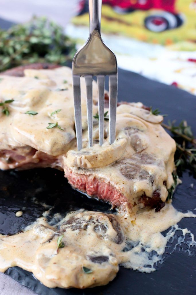 Steak with Mushroom Cream Sauce
