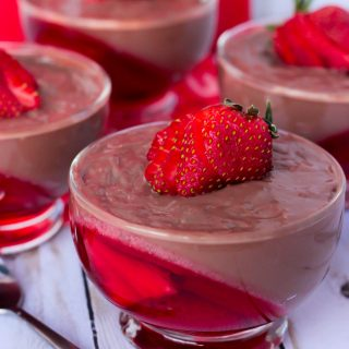 Chocolate Pudding and Strawberry Jello Parfaits