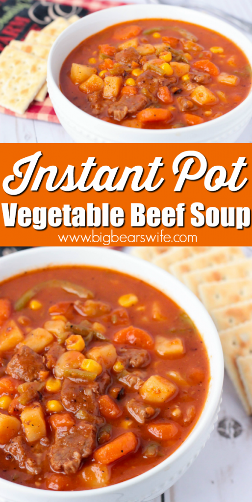 Instant Pot Vegetable Beef Soup -  Vegetable Beef Soup is one of those meals that immediately makes me think of my parents and grandparents. It's perfect for a snowy winter night, a rainy spring afternoon, or a crisp fall lunch date. Or if you're like me, you'll enjoy this Vegetable Beef Soup during the summer too! Best part? This Vegetable Beef Soup is Instant Pot Vegetable Beef Soup!