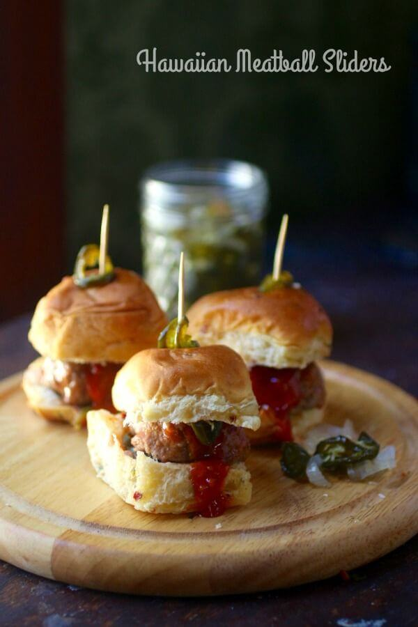 Hawaiian Meatball Sliders on meal plan monday