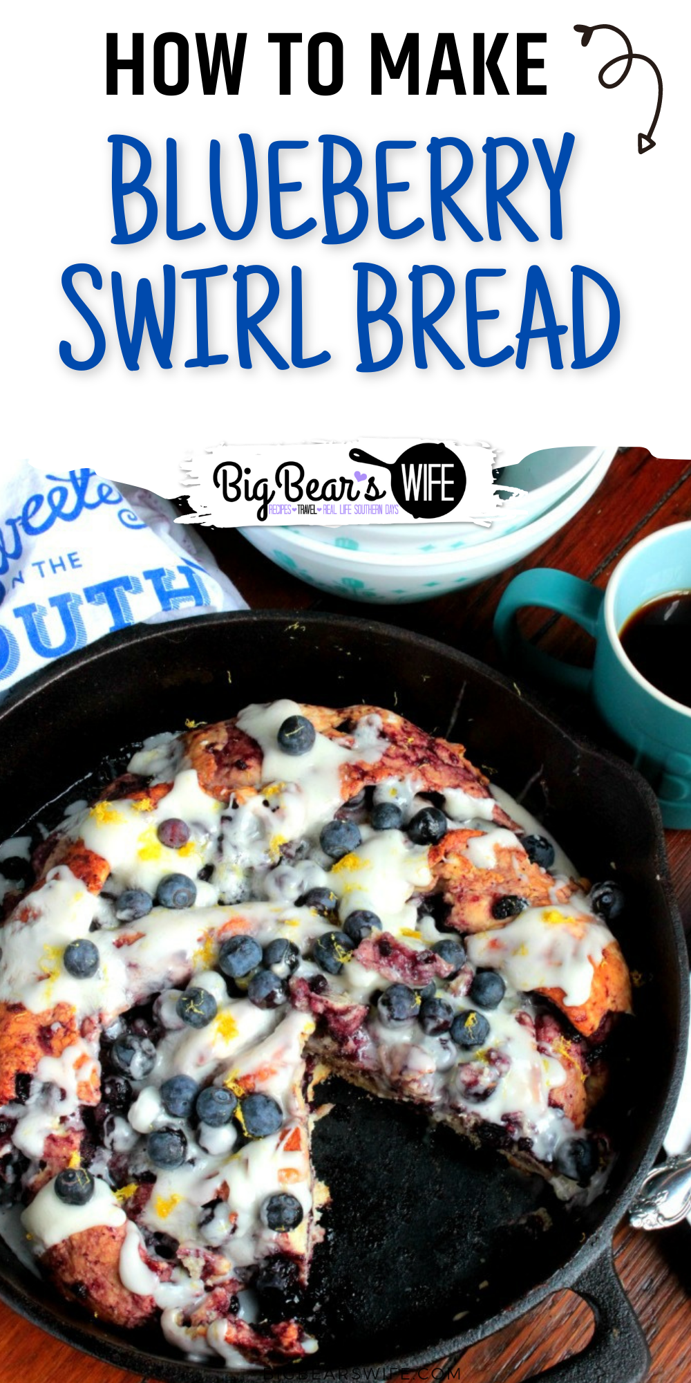 This Blueberry Swirl Bread is perfect for a weekend breakfast or brunch!! Once you get this bread baked and drizzle on that homemade glaze, you're going to be digging your fork into some of the best blueberry twist bread to come out of your oven. via @bigbearswife