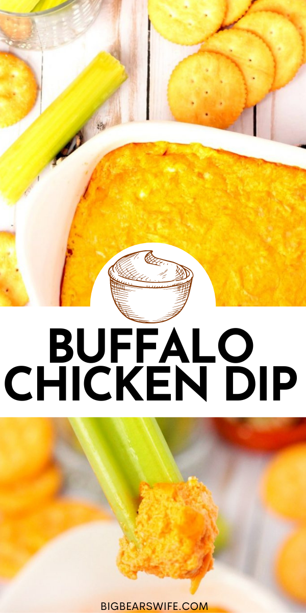 Tasty Buffalo Chicken Dip that's ready in 30 minutes and perfect with crackers or celery sticks! Great as an appetizer, a topping for salads or a snack! via @bigbearswife