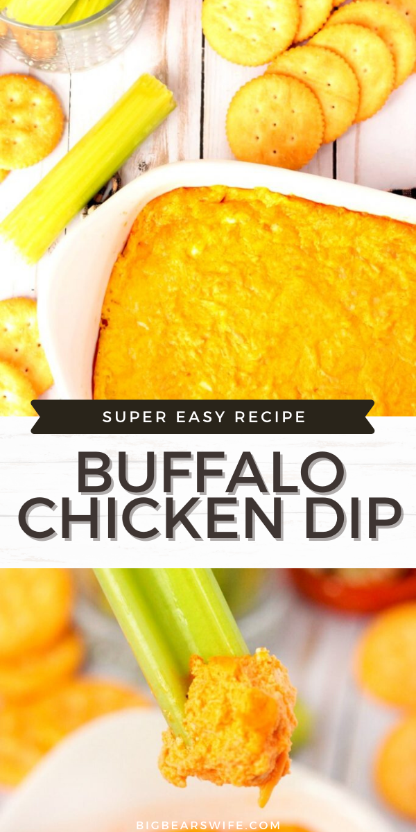 Tasty Buffalo Chicken Dip that's ready in 30 minutes and perfect with crackers or celery sticks! Great as an appetizer, a topping for salads or a snack!
