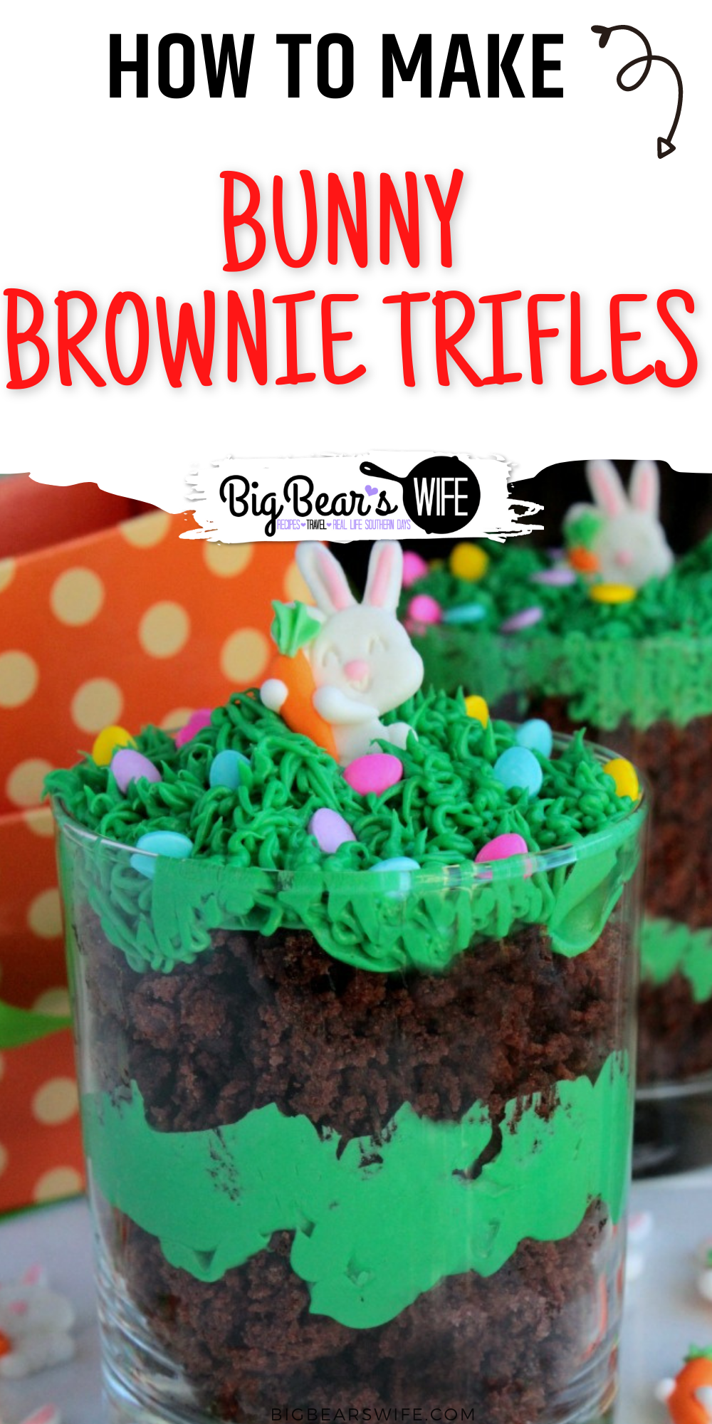 Super easy brownie trifles with cute little sugar bunnies and Easter eggs hidden in the tall grass icing.    via @bigbearswife